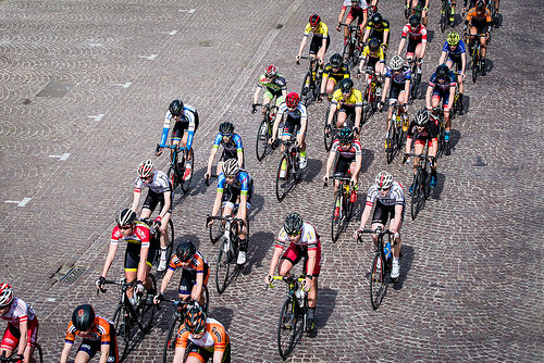 Ladies cycle race, Ypres, Belgium - across the pave
