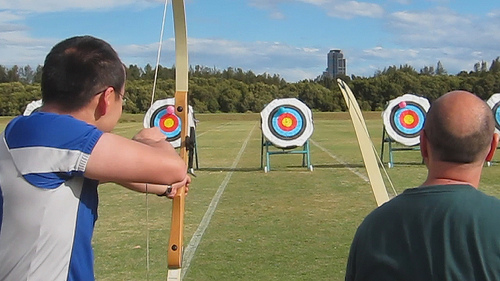 The beginning of this clip sums up our archery efforts