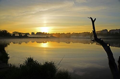 dawn of the sun reflections ashore an idyllic pond