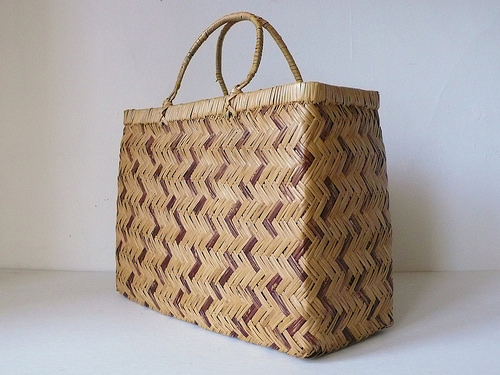 1960s Woven Wicker Large Structured Shopper Tote Basket Purse - FrancFrancis