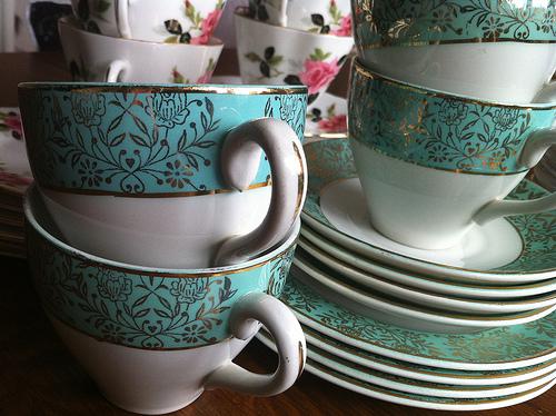 blue and gold vintage teacups